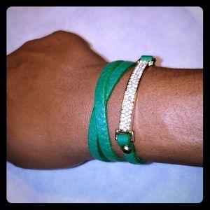 Green long wrap bracelet